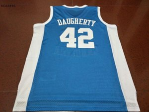 Vintage 21SS NC # 42 Brad Daugherty Mesh Teject Full Bordery College Jersey Tamaño S-4XL o personalizado Cualquier nombre o Number College Jersey