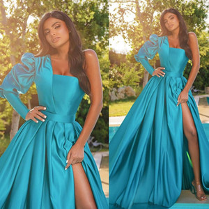African Satin Evening Dresses Sexy One Shoulder Long Sleeve Pleats Prom Dress Sweep Train Side Split Formal Party Gowns