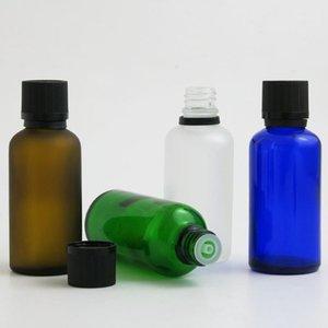 저장 병 항아리 10 x 50ml 에센셜 오일 플라스틱 녹색 맑은 갈색 파란색 유리 병 액체 시약 피펫 잠금
