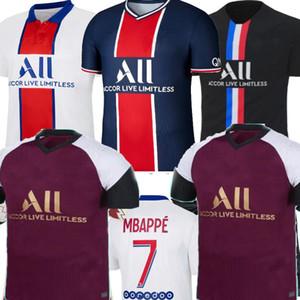 2021 Paris Verratti Mbappe Troisième Violet 4ème Fourrier Noir Hommes Soccer Jersey Mbappe Navas di Maria Icardi Paris Football Shirt 20 21