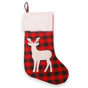 Christmas Plaid Print Stocking Socks Red Black Plaid Candy Gift Bags Xmas Tree Hanging Ornament New Year Christmas Tree Decor AHE3105