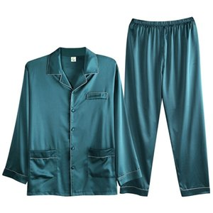 Soie d'été de luxe Soie Simple Pajama Sets Satin Cardigan Sleep Heightwear Pyjamas Homme Sleepwear Home Pijama Hombre Loungewear 201109