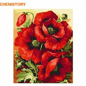 CHENISTORY Acrylic Picture Red Flower DIY Digital Painting By Numbers Home Decor Modern Wall Art Canvas Painting Wall Artwork t63E#