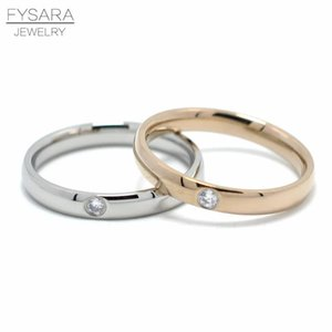 Fysara Stainless Steel Simple Cz Crystals Round Rings For Women Wedding Tail Finger Love Ring Female Couple Jewelry Wholesale sqcHFK