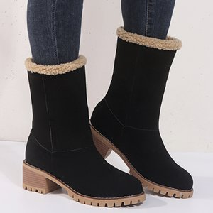 Hot Sale-2020 Women's Shoes Snow Boots Ladies Winter Shoes Fashion Flock Warm Boots Ankle Boots Short Bootie Slip-On Outside Shoes Botas