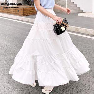 Qiukichonson 여름 높은 허리 - 라인 주름 화이트 검은 색 긴 치마 여성 맥시 스커트 쉬폰 Rokjes