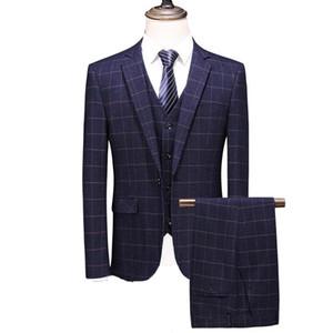 MOGU 2020 New Arrivals Striped Men Suit Navy Casual Tuxedo Costume Homme Wedding Suits for Men Two Button Men's Classic Suit
