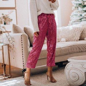 Нежные дамы блестки простирающиеся брюки Drawstring Свободные высокие талии брюки девушки вечеринка уличные женские женщины золотые брюки женские брюки1