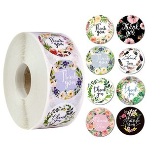 500pcs roll Thank You Sticker Different Style Seal Label DIY Gift Decoration and Cake Baking Package diameter FWE10