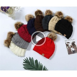 Multi-Color Parents Kids CC caps Family Match Hats Kidscourful Hats Knitted Fashion Trendy Beanie Winter Over sized Chunky Skull Caps Soft