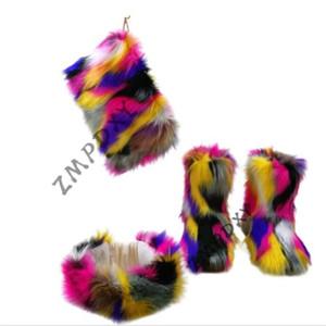 Ladies Warm Platform Boots Mixed Colour Handbag Shoes Sets Women's Fluffy Furry Botas Mujer Female Indoor Plush Cotton Shoes Hot #pM3H