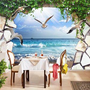 Personalizado alguma tamanho Stereo Mural Wallpaper 3D Stonewall Gaivota Mar Natureza Cenário Home Decor auto-adesivo impermeável Canvas Fresco