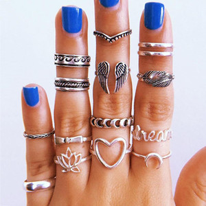 15Pcs Set Retro Women Rings Set Heart Leaf Hollow Lotus Moon Letter Carved Silver Color Ring Dance Party Beach Jewelry