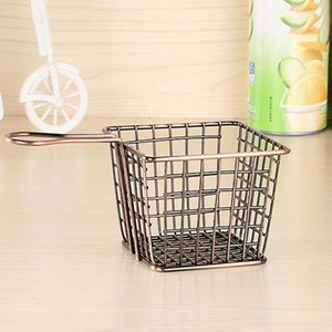 NEW 2 PCS Electroplating Wrought Iron Fries Fried Basket Mini Grid Fried Food Storage Basket, Colour: Bronze