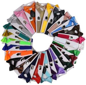 Cinturón Set del color del caramelo de Bowtie tirantes para niños con la pajarita ajustable muchachos de las muchachas al por mayor de tirantes 26 diseños Accesorios de boda OWB2995