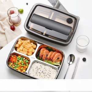 Oneisall Bento Lunch Box Kitchen Food Container Stainless Steel Plastic 1200ml Lunchbox For Kids Heated Lunch Japanese Style CJ191227