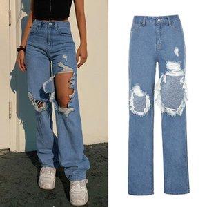 Женщины высокой талией Wide Leg Straight Jeans Asymmetric Ripped Hole Длинные брюки Harajuku Hip Hop Повседневная Свободные брюки джинсовые