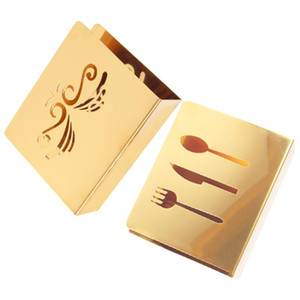 2pcs Exquisite Golden Paper Towel Holder Dinner Tabletop Napkin Organizers