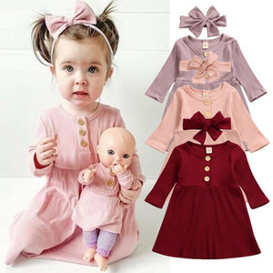 US Newborn Toddler Baby Girl Striped Xmas Party Pageant Dresses+Headband Clothes