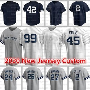 Personalizzato 99 Aaron Judge Jerseys 45 Gerrit Cole New Baseball 2 Derek Jeter 3 Babe Ruth 24 Gary Sanchez Paxton 23 Mattingly Rivera York Jerseys