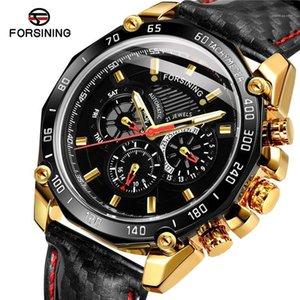 Forsining автоматические механические мужские наручные часы спортивный мужской часы вершины настоящая кожа водонепроницаемый человек часы 0321