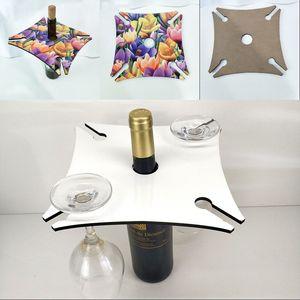 Square Four Corners Wine Rack Woodiness Goblet Holder Sublimation Blanks Champagne Stemware Racks Storage Kitchen 10 5bd G2