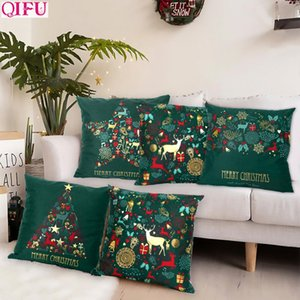 Christmas Green Cotton Hot Stamping Pillowcase Christmas Decoration for Home 2019 Party Decor Kerst New Year 2020