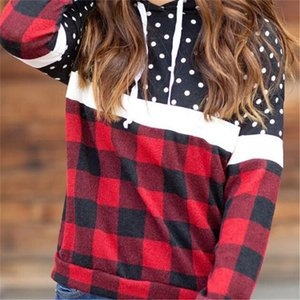Womens Fashion Plaid Hoodies Hooded Pullovers Red &Black Plaid Blouse Sweatshirt Long Sleeve Outfit Tracksuit Sport Tops Clothing LY10294