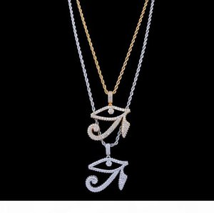 14K GOLD ICED OUT THE EYES OF HORUS PENDANT NECKLACE MENS GIFTS HIP HOP Micro Pave Cubic Zirconia Simulated Diamonds Necklace