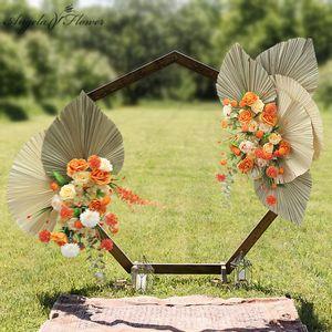 Hot Artificial Dried Flower Large Fan Leaf Plants Flower Arrangement Wedding Background Decor Arch Flower Row Party Event Props C0930