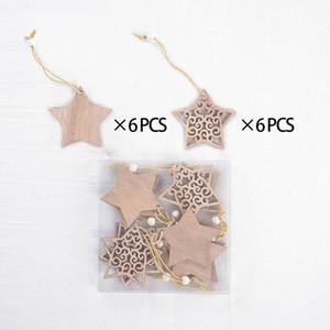 Noel Dekorasyon kolye ağaçlılık kar tanesi Küçük Süsleme Beş Yıldızlı Kutu içi boş kısım Kolye Doğrudan Deal Paketli Sivri 4 8ms H2