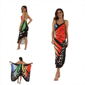 Print Women Dress Sexy Sling Becah Wear Dress Sarong Cover Up Warp Pareo Backless Swimwear Plus Size S 5XL Sundress