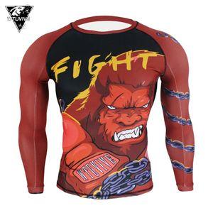 WTUVIVE MMA Red boxing gorilla ferocious fighting fitness jersey tiger muay thai Boxing jerseys fight wear short muay thai sanda Q1228