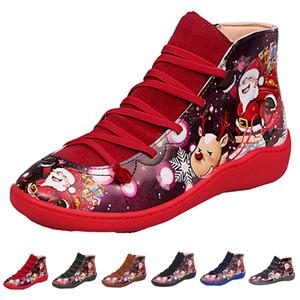 Women Boots Platform Luxurys Designers Shoes Fashion 3D Christmas Pattern Round Toe Lace Up & Zipper Flat Winter Snow Ankle Boots 2020 New