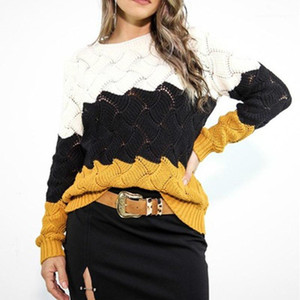 패션 가을 겨울 의류 여성 캐주얼 스웨터 Womens 디자이너 패널 풀오버 스웨터 긴 소매 크루 넥