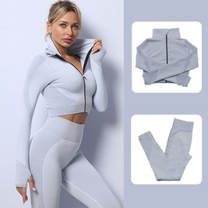and wicking Seamless sweat moisture quick absorption drying zipper jacket set exercise Yoga suit fitness clothing for women