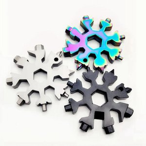 18 in1 Snowflake Key Ring Outdoor Survival Multi-function EDC Tool Camping Equipment Keyring Stainless Steel Opener Wrench CYZ2832
