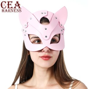 CEA-de-rosa Mulheres Sexy máscara máscaras Catwomen Moda Metade face partido do carnaval Ear Máscara Adulto Fetish Fantasia Props jogo de couro Máscara 200929
