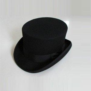 Unisex Homburg Hats Wool Fedora Steampunk Top Hat Cylinder Magician Magic Cap Felt Fedoras Hats 12cm High B-8114 201106
