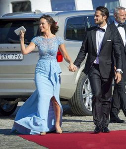 Blue Elegant Celebrity country Sparkling Sheath dress Runway Short sleeves 2019 pregnant modest dresses evening gowns detachable skirt