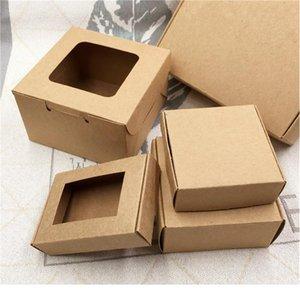 10pcs lot Kraft Window Box Kraft Cardboard Packing Gift Box Handmade Soap Candy For Wedding Decorations Paper jllXVa