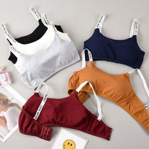 Femmes Sports Bra Tops Lettres solides Yoga Soutien-gorge en coton Filles Taille Jogging Fitness Workout Sports Bra transparente Wirefree