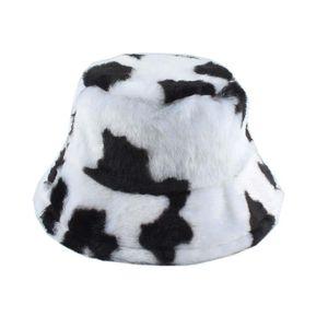 2020 New Fashion Faux Fur Cow Print Bucket Hats Women Winter Panama Fisherman Caps Gorra