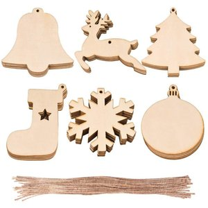 10pcs Lot Christmas Wooden Ornaments Christmas Tree Hanging Xmas Pendant Blank DIY Wood Craft Gift Decoration DDA656