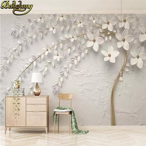 beibehang 3d wallpaper Custom wallpaper beautiful white 3d embossed flower twig TV background wall papel de parede wall paper