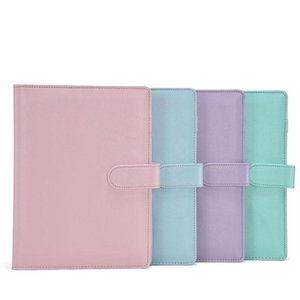a6 pu leather notebook binder bundle 6 ring binder solid color planner office school supplies a11 yCDdo
