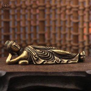 Vintage laiton massif Sleeping Buddha Mini Figurines Cuivre Guanyin Statue Ornements Accueil bureau Décoration Keychain voiture Pendentif