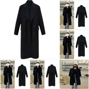 KNER Large Size Army Green Long Black WinterLong Coat For designer England Trench Coats Couple women woolen Vintage Mens Elegant Overcoats
