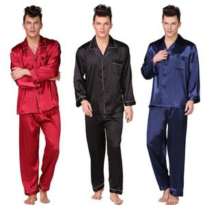 Plus Size Silk Pajama Men Noir Rouge bleuissement soie sexy de nuit style moderne Homewear Set doux bain sommeil pyjama 2 pièces / set LJ201113