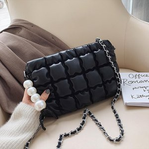 pearl women handbag 2020 Autumn New Small quilted crossbody bag Fashion Brand plaid Handle Simple Shoulder Messenger Bag